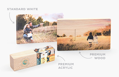 Choose from three, high-end styles: Standard White, Premium Wood, & Premium Acrylic. 8GB and 16GB options are available in each style.